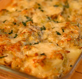 Potato and leek gratin, adapted from Williams-Sonoma