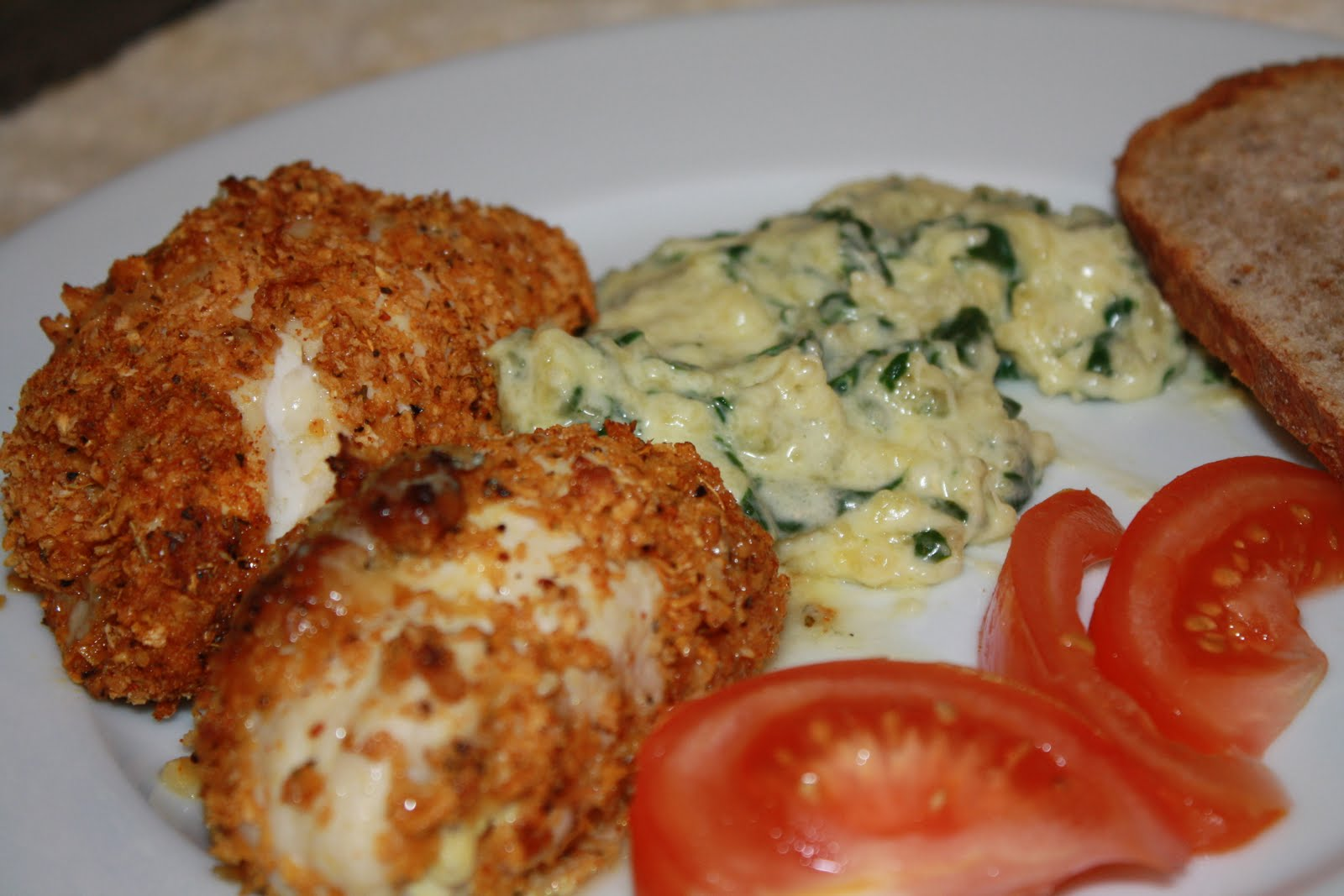 ... : Baked Blue Cheese Chicken Roulade with Creamed Spinach & Tomato