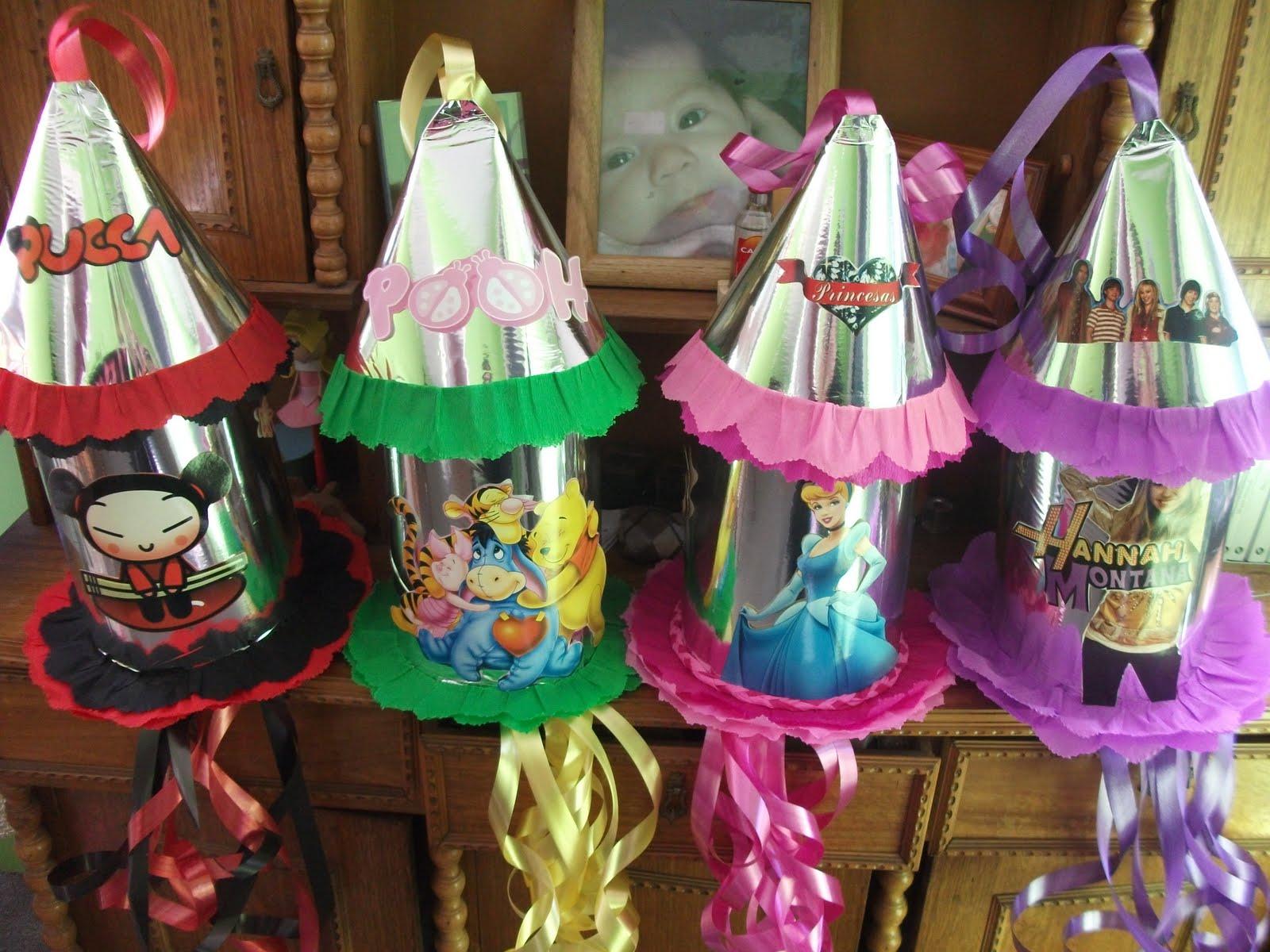 Mis Piñatas de Cohete (Hanna Montana, Winnie Pooh, Pucca y Cenicienta