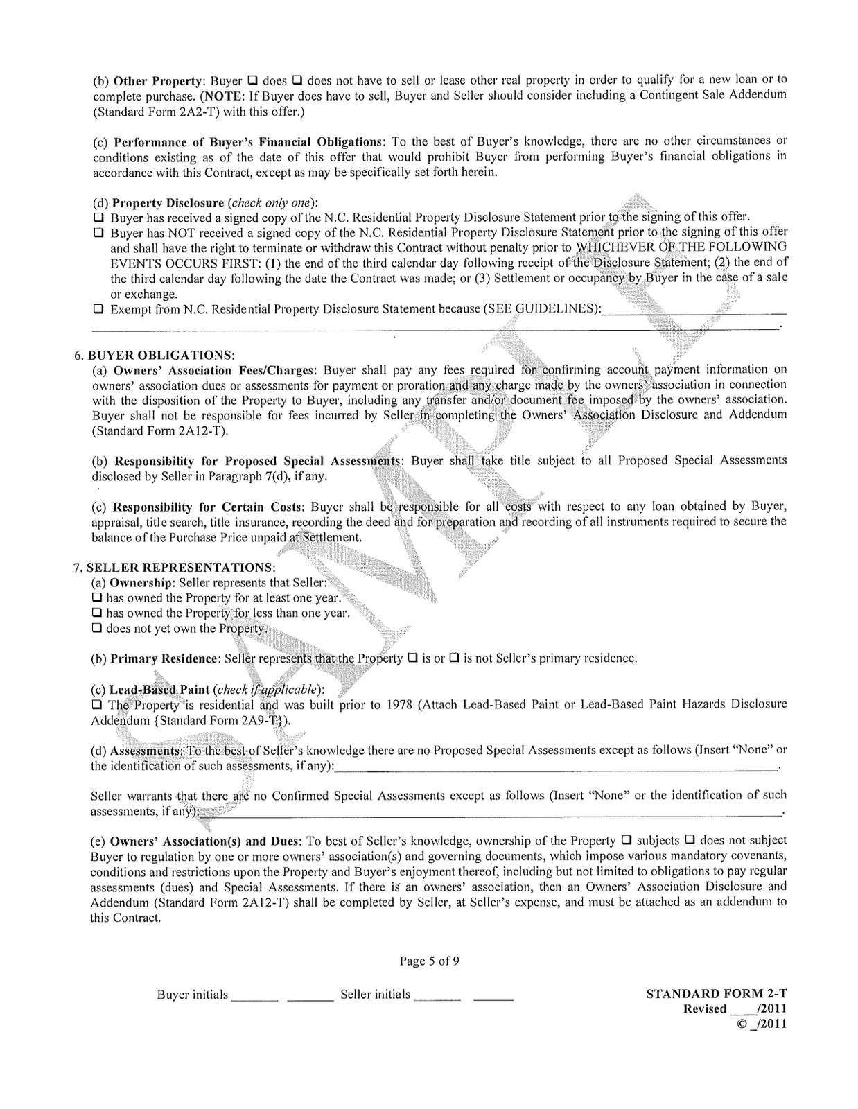 Michaelsullivanrealtor 2011 North Carolina Offer To Purchase Contract