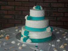 Turquoise Ribbon Wedding Cake