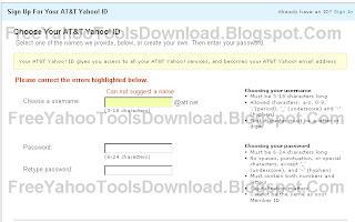 Step 2 Creating att.net Yahoo ID Picture 1