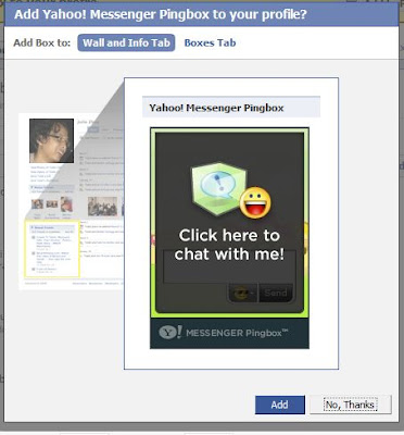 yahoo messenger ping box on facebook
