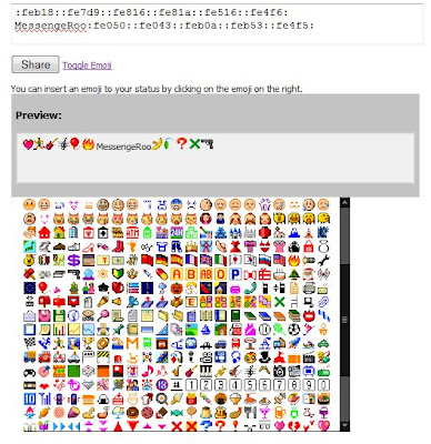 Emoticons in Facebook Status on Dashboard Facade