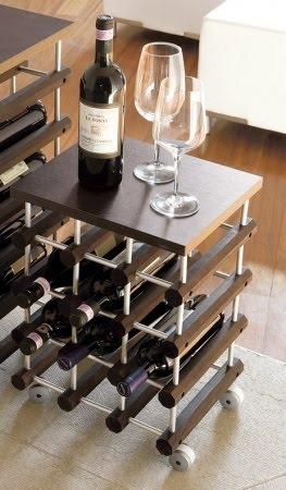 cantinetta vino enoteca privata : Cantinetta WINE 12 portabottiglie modulare in legno su ruote