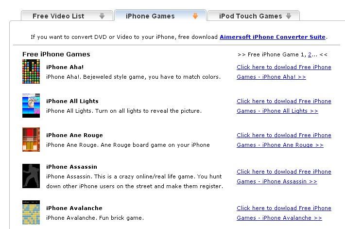 Sitio web del juego ipod touch desnudo