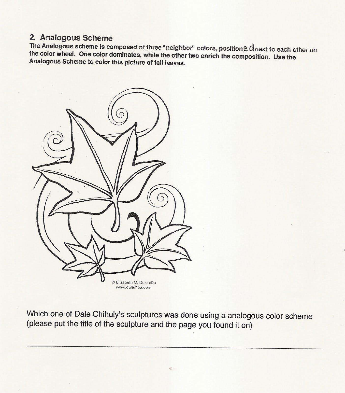 handouts and worksheets color schemes handout november nov 1 5