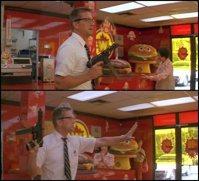 Michael Douglas hamburger breakfast scen falling down