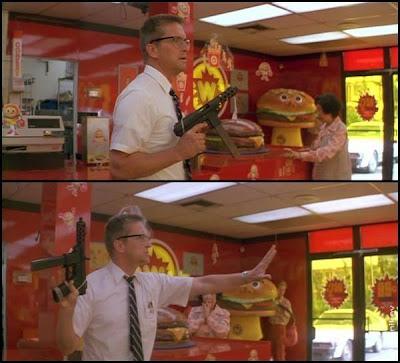 Michael Douglas hamburger breakfast scen falling down