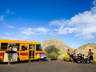 excellent picture of a food truck in kahakuloa village in Hawaii