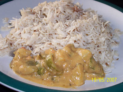 Jeera rice with curry