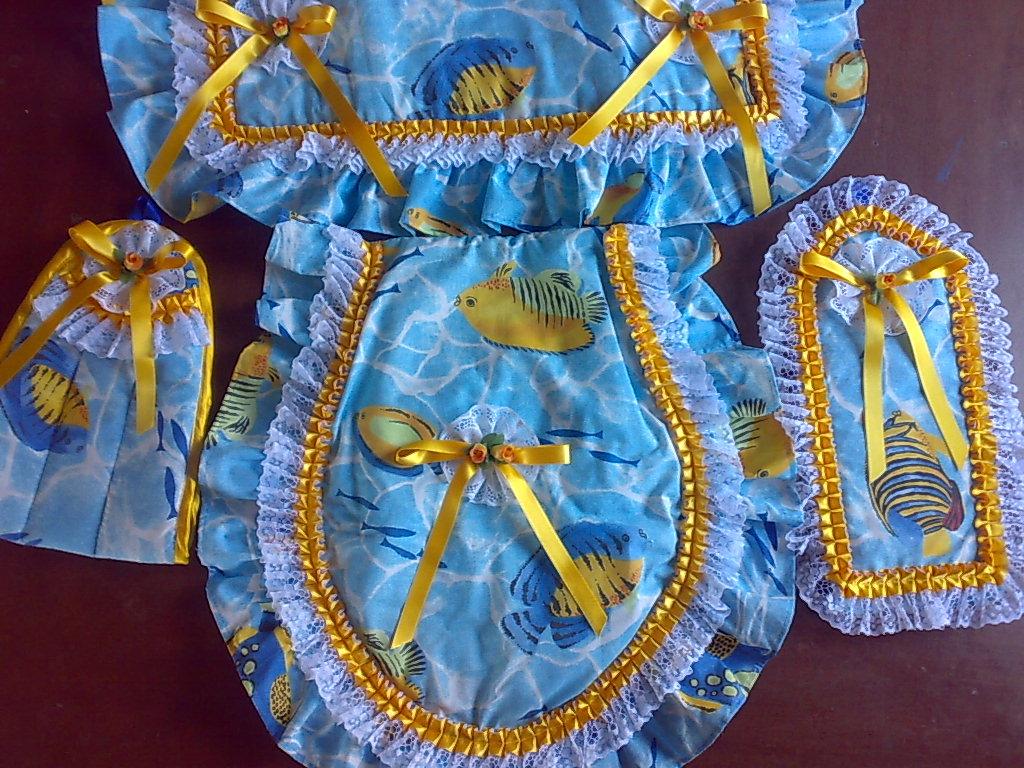 Lenceria De Baño Patrones:hermoso juego de baño en azul y amarillo es una buena propuesta para