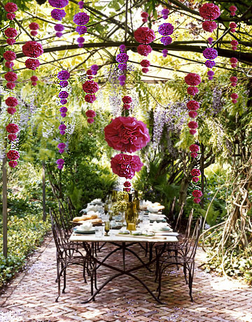 Diy garden wedding decorations colourful cascading pom poms wedbits - Diy garden decoration ideas ...