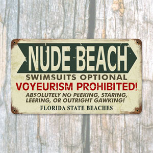 Nude Beach funny sign in Florida