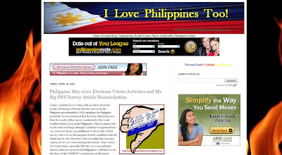screenshot of the political opinion blog for filipinos i love philippines too found at http://www.ilovephilippinestoo.blogspot.com