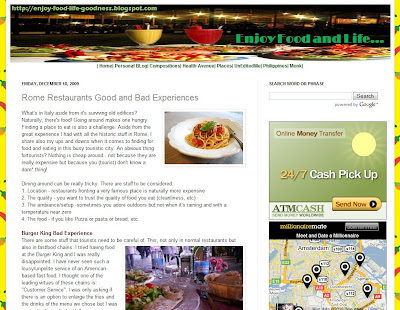 screenshot for food and leisure blog named enjoy food and life found at http://www.enjoy-food-life-goodness.blogspot.com/