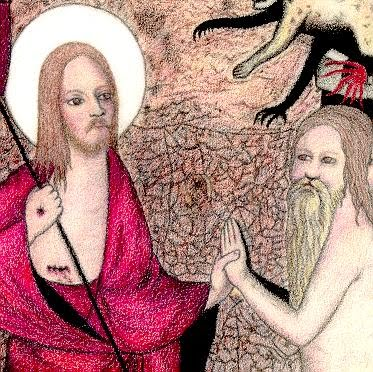 Christ in Purgatory, 14th cent. Gothic painting, Master of Westphalia, redrawn by Debra Worth.