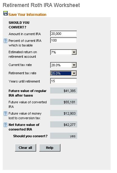 To Roth Ira Calculator Converter