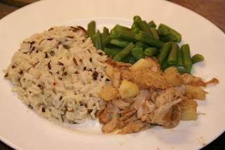 Apple Walnut Pork with Green Beans and Wild Rice