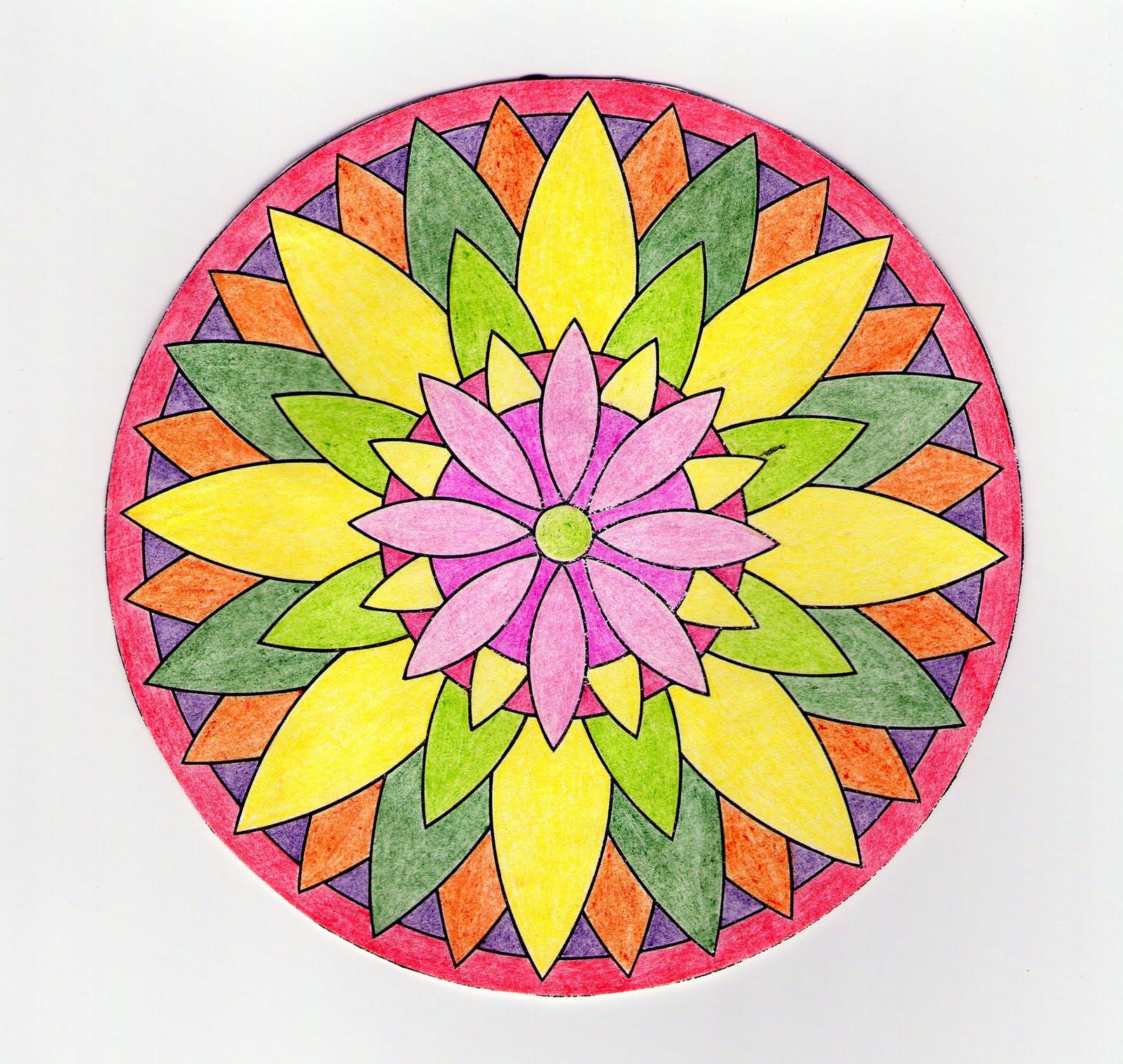 Mandalas Para Pintar La gran flor ejemplo de Mandala pintado