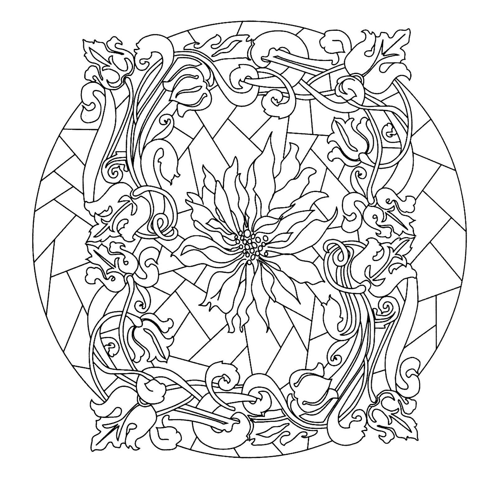 Mandalas Para Pintar: Mandala con vidriera floral