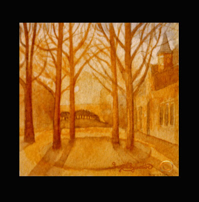 Sunset Stable Block Grey Towers watercolour by Ingrid Sylvestre North East Artist Durham artist