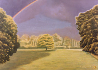 Rainbow over the Meadow Grey Towers acrylic painting by Ingrid Sylvestre North East artist Durham artists UK