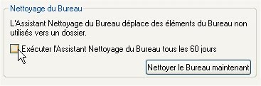 capture d'écran Windows XP - Nettoyage du Bureau