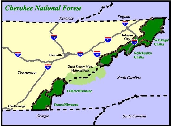 The smoky mountain hiking blog cherokee national forest for Georgia trout fishing map