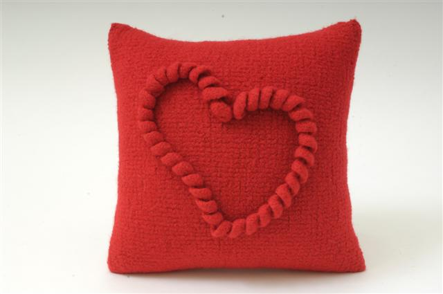 Fluffy Heart Crochet Pillow | Fine Craft Guild .com
