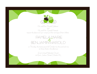 Chocolate Brown Apple Green Wedding Invitations