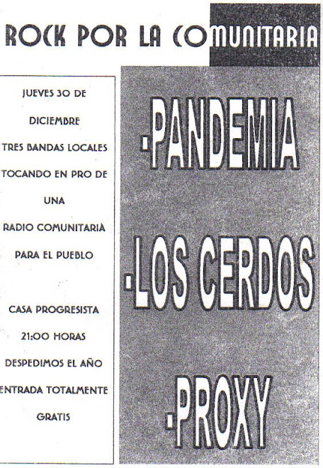 Flyer del toque por la radio comunitaria El Proyector FM