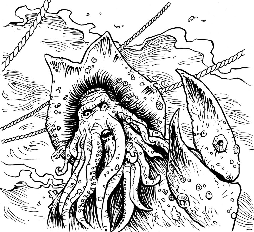 Davy jones pirates of the caribbean coloring pages for Coloring pages of pirates of the caribbean