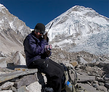 Calling Debbie from Mt Everest Basecamp 11/14/2008