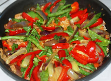 Chicken Paella with Snow Peas, Red and Purple Peppers