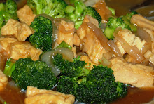 Fried Tofu, Brocolli, oyster sauce, spanish sherry, sesame oil and ginger stir fry