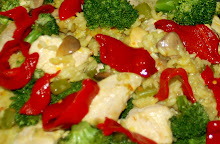 Chicken and Arroz Bomba with broccoli, piquillo peppers and Spanish saffron