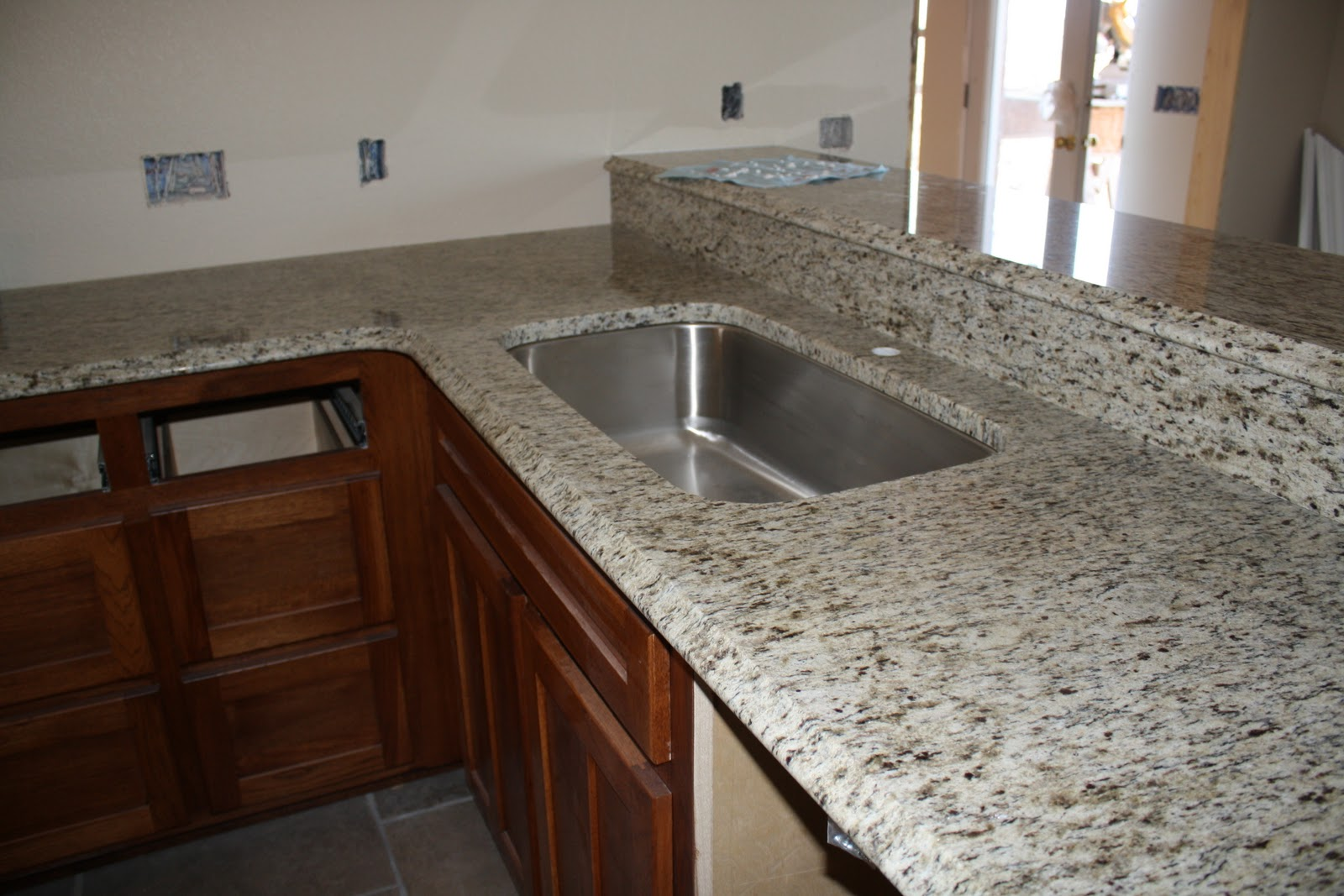 Grey Bathroom White Cabinets Brown Granite