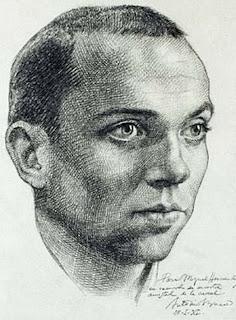 Dibujo y dedicatoria de Antonio Buero Vallejo - 'Para Miguel Hernández, en recuerdo de nuestra amistad de la cárcel - Antonio Buero'