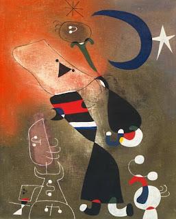Mujeres y pájaro en el claro de Luna - Joan Miró