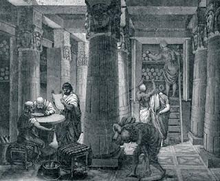 Representación de la antigua Biblioteca de Alejandría