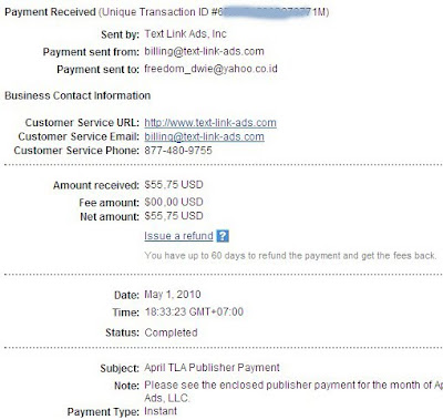 Bukti pembayaran dari text link ads