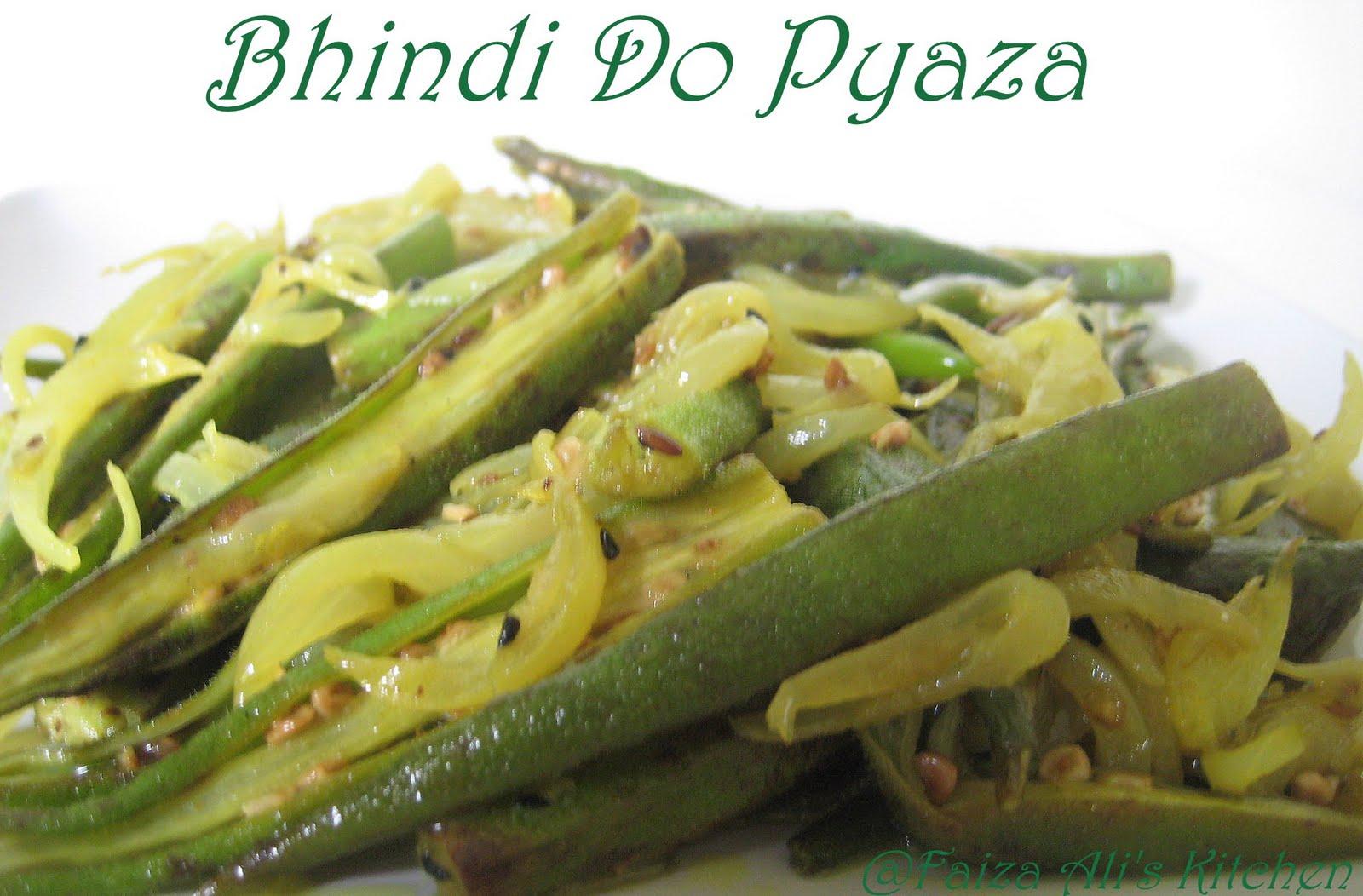 Faiza Ali's Kitchen: Bhindi do Pyaza /Stir-fried Okra