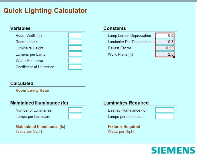 Lighting Calculations Spreadsheets ~ Electrical Knowhow