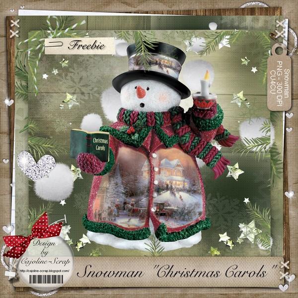 "SNOWMAN ""CHRISTMAS CAROLS"" CU Cajoline_snowmanchristmascarols.pv"