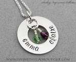 Sterling Impressions Handstamped Two Name Eternity Circle Pendant Birthstone Necklace