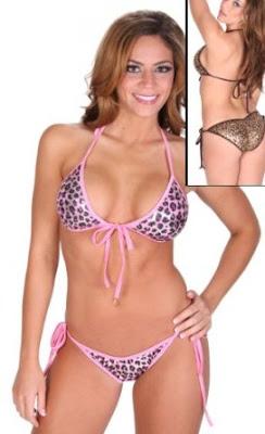 Leopard Foil Tie Side Scrunch Butt Bikini Set