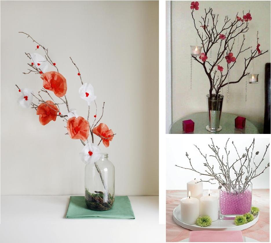 Ramas de rbol como centros de mesa - Como decorar un arbol seco ...