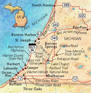 SwirlSavvy - Michigan wineries map