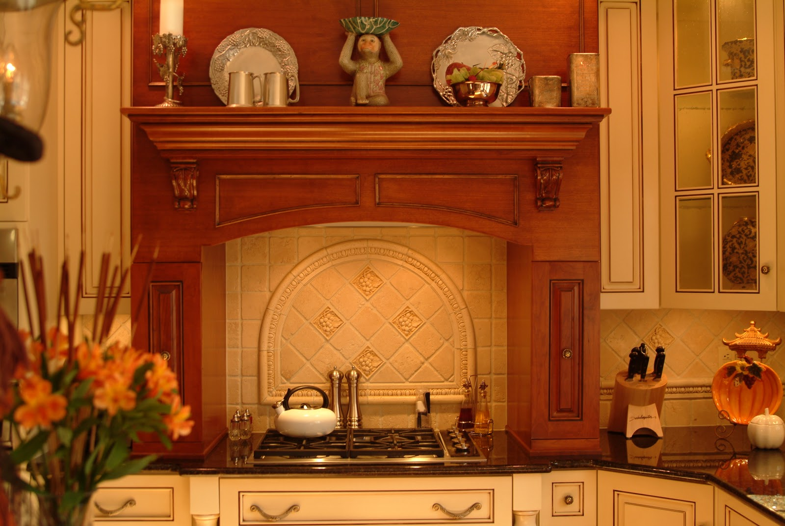 else. The cabinets were painted cream with a chocolate glaze